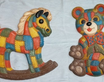 Vintage Wall Decor Matching Teddy Rocking Horse Childrens Home Decor 1970s Retro Kids Room Wall Hangings.
