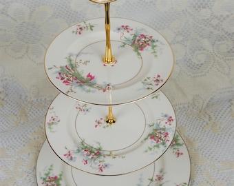 Haviland Apple Blossom 3 Tiered Cake Plate Stand