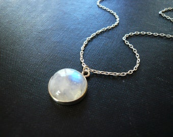 Moonstone Necklace in Sterling Silver - Bezel Set Smooth Rainbow Moonstone Pendant Necklace