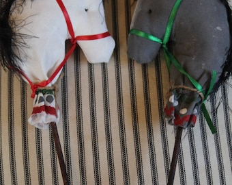 Victorian Hand Painted Hobby Horse Christmas Ornaments (set of 2)