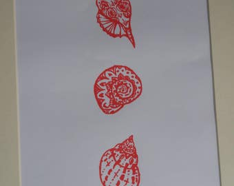x3 Shells. Limited edition mounted screen print