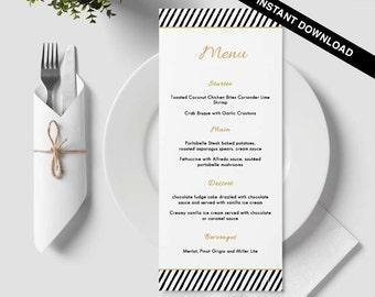 Table menu, word template, weddings, editable menu card, napkin menu insert, damask wedding, bar menu template, gold, black, lines, line, 35