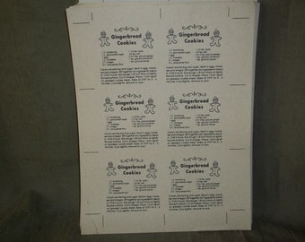70 card stock sheets of Gingerbread Cookies recipies