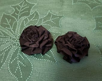 Dainty beautiful black floral cloth shoe clips
