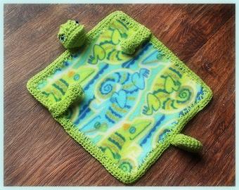 Iguana Fleece and Crochet Lovey PDF Pattern