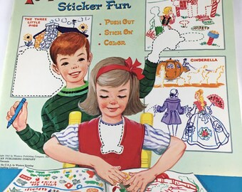 Whitman's Sticker Book, Fairy Tales Sticker Fun, Sticker and Coloring Book, 1965