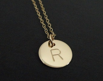 "Gold Filled Initial Necklace - 1/2"" Initial Disc - Personalized Hand Stamped Jewelry - Mommy Necklace - Celebrity Inspired Jewelry"