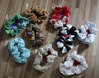 Handmade Scrunchies from Vintage & Repurposed Fabrics