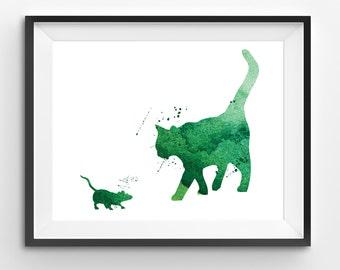 Green Cat-Mouse Watercolor Print, Animal Print, Cat-Mouse Digital Print, Abstract Cat-Mouse Print, Living Room Decor, Modern Kids Art
