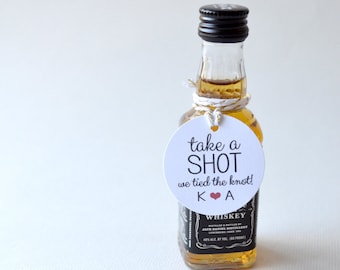 "Take a shot - Mini 1.5"" White Matte Small Label Tags - Custom Wedding Favor & Gift Tags - Take a shot we tied the knot"