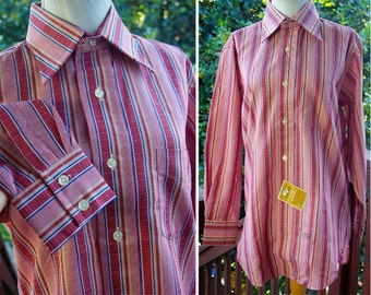 WOODSTOCK 1960's 70's Vintage Men's Brick Red Striped Button Down Shirt by GANT // size 32 // NWT Deadstock