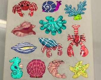 Vintage Sandylion Ocean Life Stickers. Crabs, Lobsters, Snail, Seashell, Seahorse