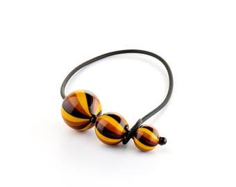 "Murano Glass Blown Necklace ""SUGE HIRO"", Handmade Glass Jewel, 3 Murano Glass Beads, Venetian Roll-Up Tecnique by JoGa Glass"