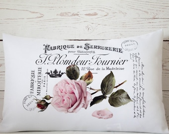 """Fabrique Rose - 12 x 18"""" Lumbar Cushion Pillow Cover French Shabby Vintage Chic - UK Handmade"""