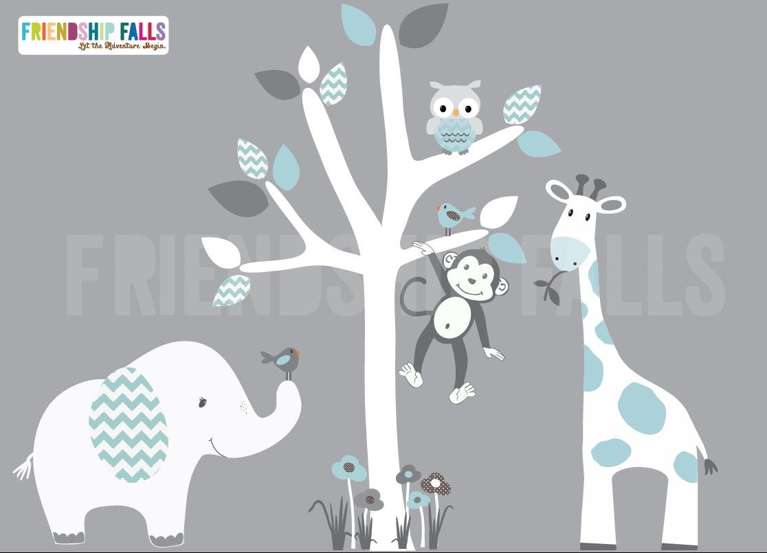 Mini Jungle Decals Small Elephant Wall Decal Giraffe Decal