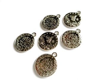 6 Silver Tughra Coin Charms - 21-27-6