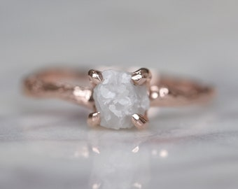 1.37 Carat Raw Diamond Engagement Ring with 14k Rose Gold Branch Band