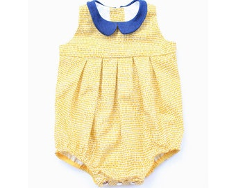 Baby /  Toddler Girls Romper in yellow with denim collar