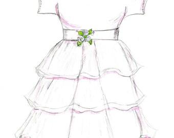 Christening Gift, Baby Gift, Christening Gown, Gown Sketch, Baby Sketch, Baby Christening Gown Sketch, baptism sketch, baptism gift