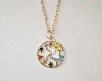 Alice In Wonderland Enamel Pendant Necklace In Pastel Rose Gold. Lewis Carroll. Clock Face. Playing Cards. 20 Inch Chain.