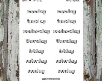 Daily Journal Planner Stickers - Days of the Week - Set 4