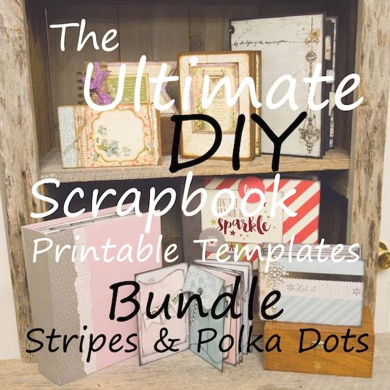 The Ultimate DIY Scrapbook Printable Templates Stripes, Polka Dots, Plain, + Add On Mats