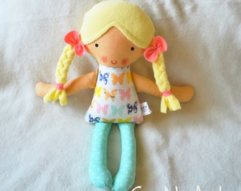 Handmade Fabric Doll - Rag Doll - Hand made Cloth Doll - First Doll - Textile toy- Baby Girl Gift - Baby Shower Gift - Softie - Plushie
