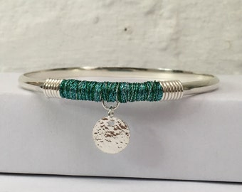 Sterling Silver Bangle with Sea Green Thread Wrap and Charm