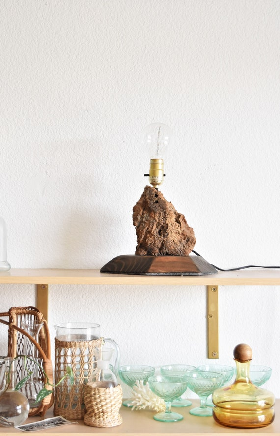 sculptural mid century modern burl wood driftwood table lamp / side table lamp / beach house decor