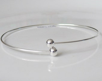 Silver Make Beaded Bangle Bracelet Nickel-Free with Screw-On Round Beads
