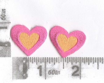 Pair of small embroidered hearts 2 color combinations available