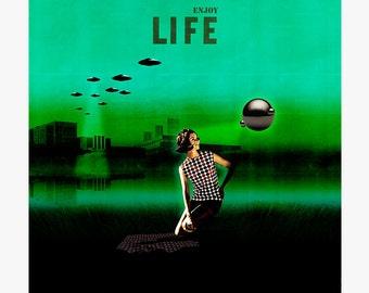 Enjoy life 9 - collage - mixed media - vintage -  29,7 x 29,7 cm