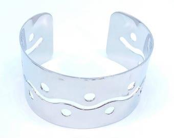 Bracelet cuff bangle - ref942 - steel - 18 GR - geometric pattern