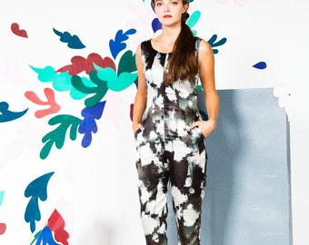Silk Ink Print Black and White Jumpsuit