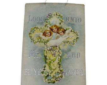Victorian Look Unto Me and Be Ye Saved Isaiah 45:22 Print on Board Made in Germany