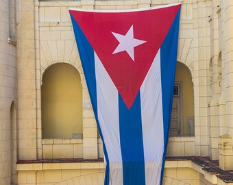 Cuban Flag in Museo de Revolucion, Havana, Cuba, street, photography, caribbean, cuban art, print, cuban decor, home decor