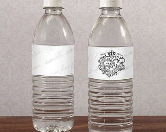 Paris Parisian Personalized Water Bottle Labels Wedding Favors