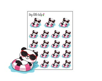 Planner Stickers Panda Pool Day