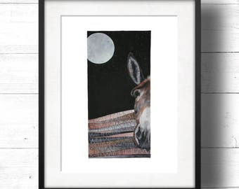 LTD EDITION One Day - Giclee Print by Sam Cannon - Donkey Watercolour Painting