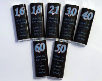 30 Personalised DIY Birthday Party Chocolate Bar WRAPPERS Favours - Favour Ref BB 16th 18th 21st 30th 40th 50th 60th 70th 80th Birthdays