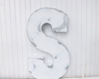 Large Metal Letter / Decorative Letter / Capital Letter / Large Letter S / Shabby Chic Letter / Rustic Letter