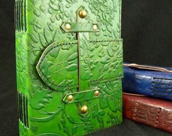 Artist's Sketchbook - Hand-Tooled Leather - DECKLED Handmade Cotton Paper