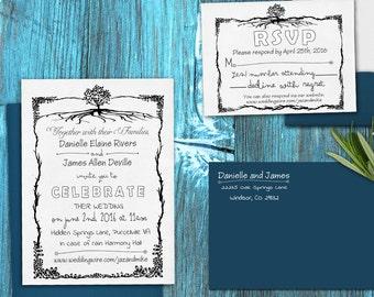 Rustic DIY Wedding invitation Stamp SET with Invitation, Return address and Monogram --13007-MULT-000