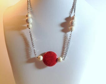 Red long Necklace, Red magnesite necklace, Red and White necklace, Red mode necklace, Original necklace, red short necklace (C775)
