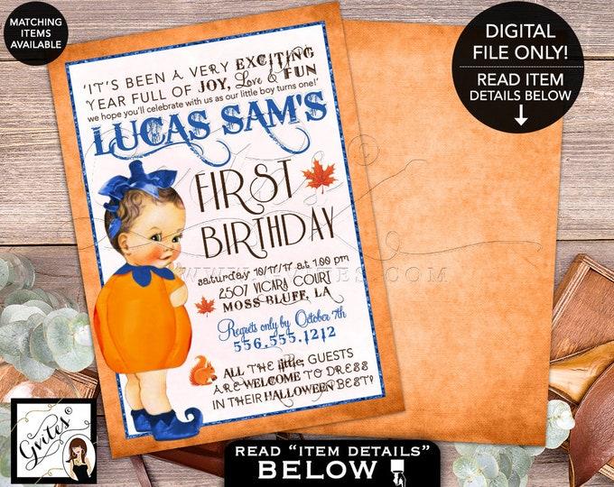 "Pumpkin First Birthday Invitation, fall baby invites, Autumn vintage invitations, Halloween turning one 5x7"" Gvites"
