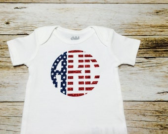 Fourth of July Glitter Monogram baby girl clothes, personalized bodysuit, Babies first 4th of July, Monogrammed American Flag