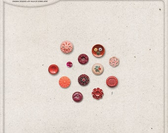 Retro Buttons, Vintage Button Mix, Digital Download, Commercial Use OK, Digital Scrapbooking Elements, Red, Pink, Orange, Romantic Buttons