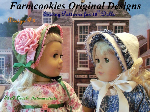 """PDF Sewing Pattern/  4 Historical Bonnets / for American Girl® or Other 18"""" Dolls/ Fits Like American Girl Doll Clothes Pattern"""