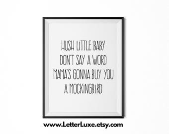 "Lullaby Art for New Baby ""Hush Little Baby"" Nursery Decor - Typography Art - Digital Print - Wall Hanging - Song Lyrics Quote"