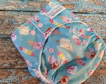 One Size AI2 Cloth Diaper Ice Cream Treats 15-40 lbs All in Two PUL